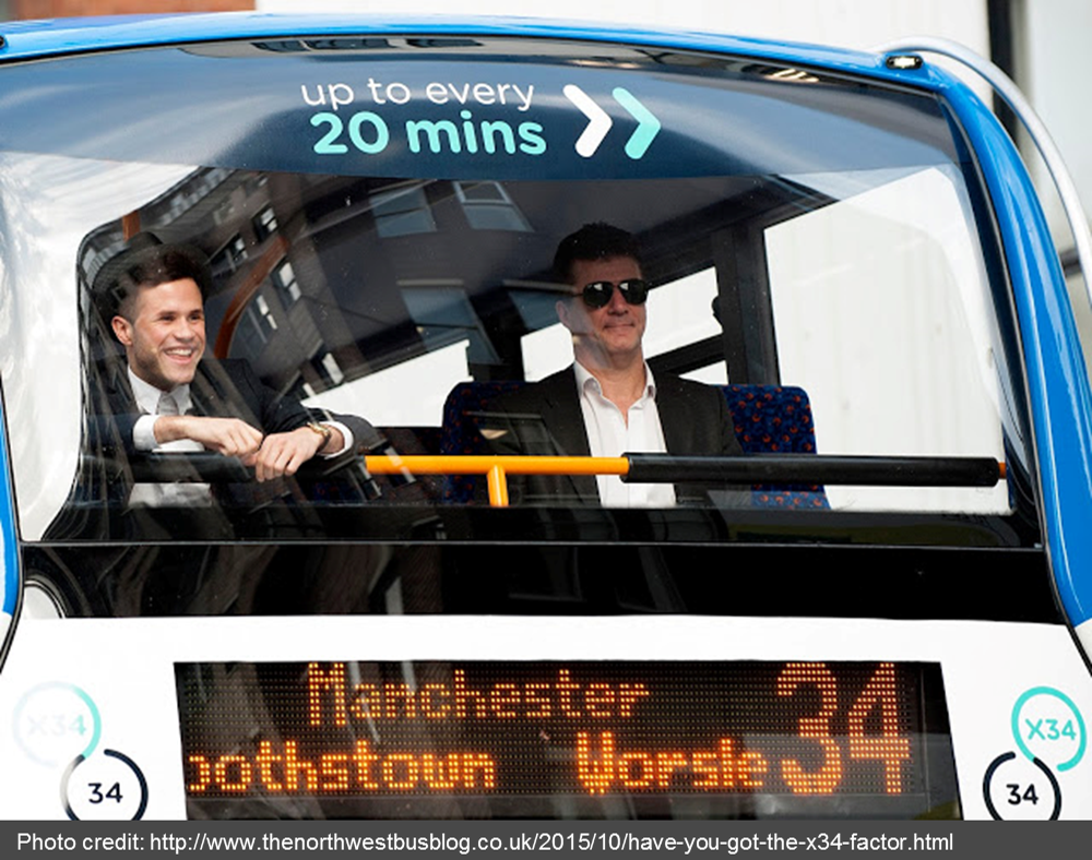 """It's a YES from me!"" 'Simon Cowell' and X Factor star launch new Stagecoach Manchester service"